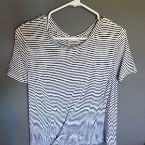 Cotton striped flowy tee